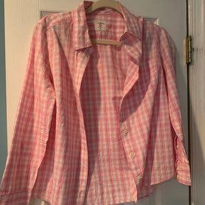 GAP fitted boyfriend pink flannel